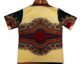 Beige African Dashiki Mens Buttoned Shirt With Contrasting Green Dashiki Short Sleeves Beige