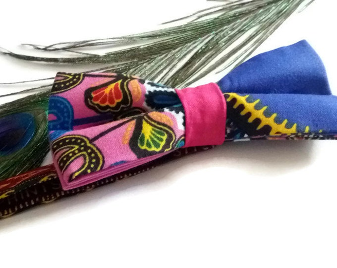 Mens Pink Dashiki African Pre-tied Bow tie, Afroneckties Mens African Clothing,  African Bow tie Gift