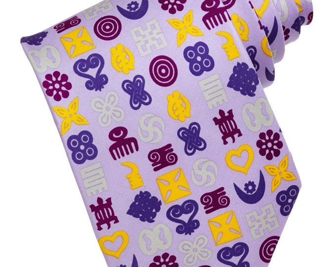 Lilac Hand Printed Adinkra Symbols Silk Wedding Necktie and Pocket Square