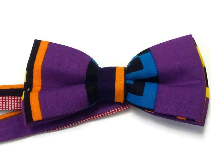 Purple Kente African Print Bowtie| Anniversary Bow Tie| Teens First Bowtie| Gift For Best Friend| New Job Gift| Leaving Gift| Party Bowtie