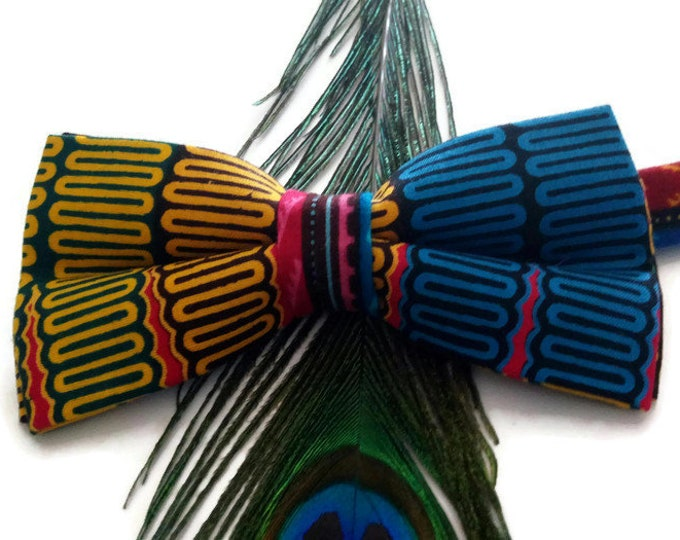 Mens Pink Geometric African Pre-tied Bow tie, Afroneckties Mens African Clothing,  African Bow tie Gift