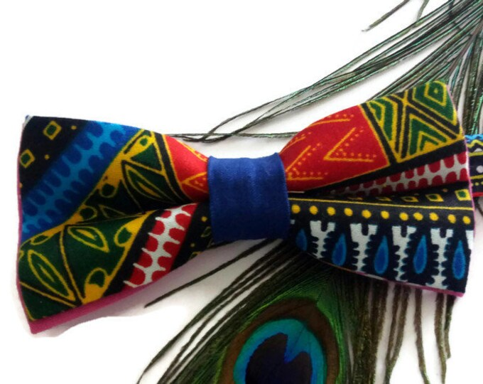 Blue Pink Dashiki African Print Pre-tied Bow tie Afroneckties Mens African Clothing,  African DashikiBow tie
