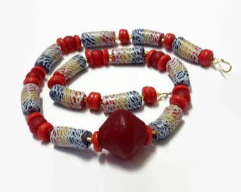 Red Disc Multicolored African Bead Bracelet And Necklace| Unisex African Jewellery| Traditional African Wedding Groom Gift