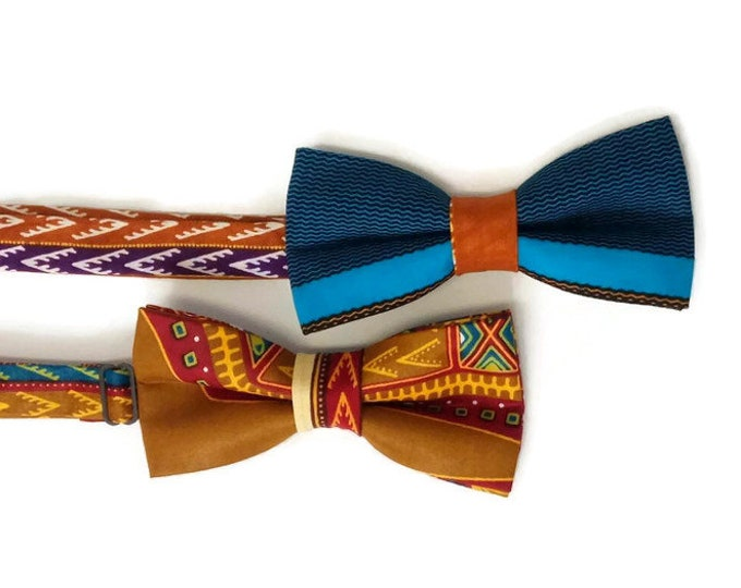Two African Print Dashiki Bowties For Friends And Fathers Day, Money Saver Bowties