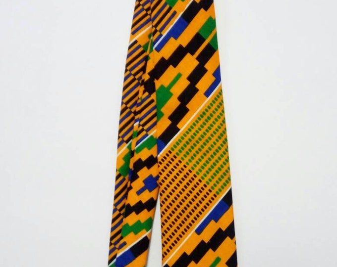 Mens Yellow Green Kente Necktie And Handkerchief, African Print Pocket Square, Wedding Groomsmen Favour Gift