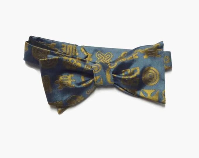 Handmade Blue Silk Adinkra Self Tie Bowtie, Africans inspired Adinkra Silk Bowtie