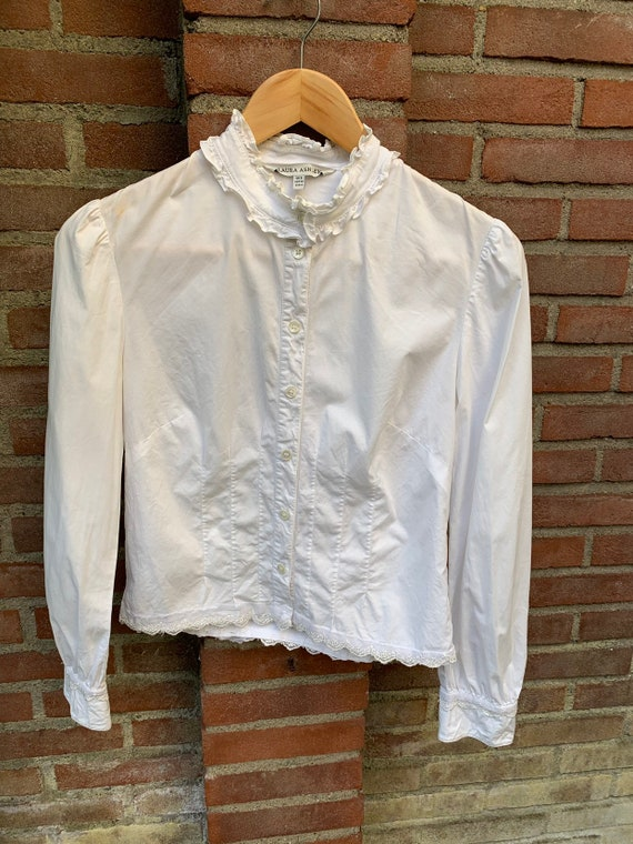 White vintage blouse by Laura Ashley