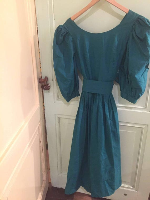 Laura Ashley vintage teal dress