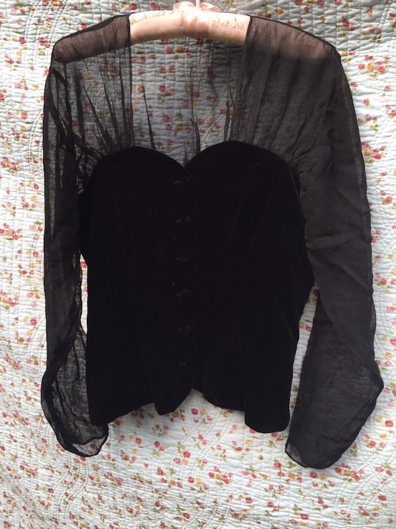 Vintage velvet and voile blouse by Laura Ashley