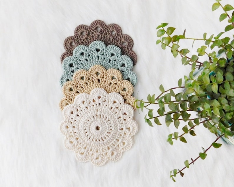 Crochet coasters drink coasters set of 4 flower coasters image 0