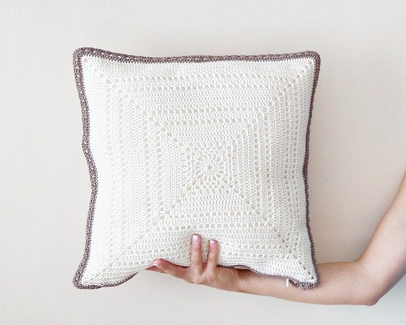 Custom Pillow Case Crochet Pillow Cover Throw Pillow Covers Etsy Stunning How To Crochet A Pillow Cover