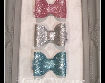 Baby Glitter Bows Hair Clips set of 3, Fringe clips
