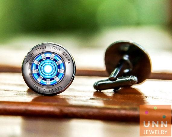 groom cufflinks Image under glass Arc reactor cufflinks, Tony husband gift Iron Man cufflinks gift for Dad wedding cufflinks
