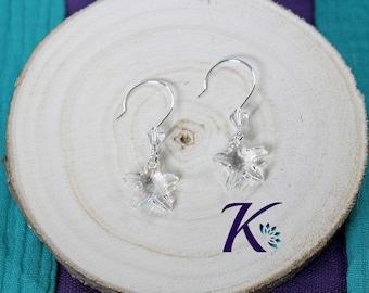 Starfish Swarovski Element Crystal 925 Silver hooks earrings