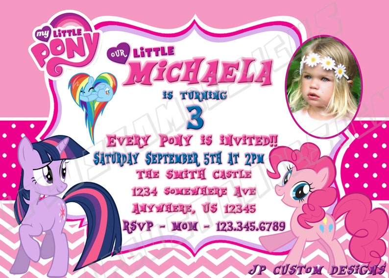 Custom Birthday Invitations My Little Pony