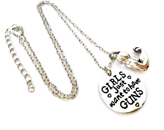 Weight Lifting Gift Personalized Bodybuilder Jewelry Girls Just Want To Have Guns Birthstone Necklace