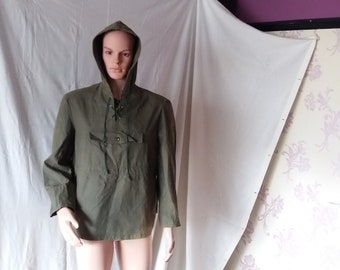 324c5e28c98 Vintage 1980 s Military Green Canvas Anorak - NEW