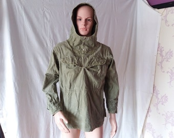 b9273b502f6 Vintage 1980 s Military Green Canvas Anorak