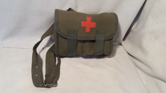 Studded Canvas and Leather Army Medic Bag