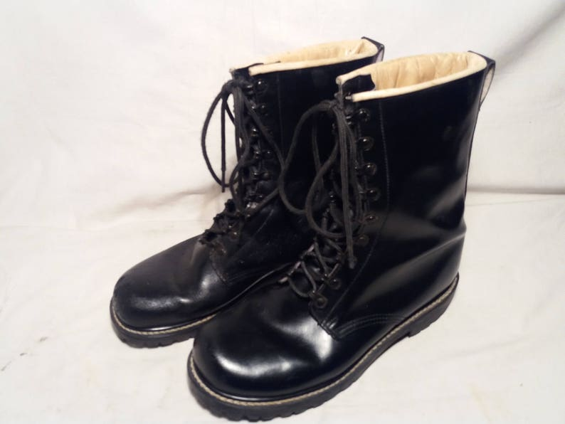 e6a4054b51ada Vintage German Army Black Leather Boots