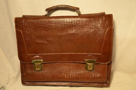 Vintage 1970's Brown Leather Legal / Business bag