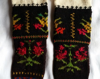 Vintage 1950's Rustic Hand-Knitted Woolen Stockings - NEW