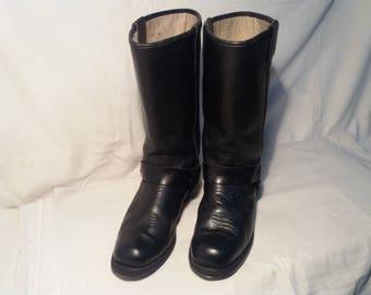 Vintage Black Leather Cowboy Boots