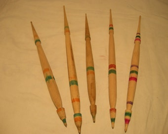 Vintage 1950's Handmade Wooden Spindles for Wool Spinning - Set of Five