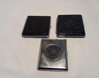 Vintage Hard Cigarette Case - Set of Three