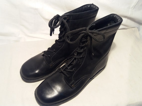 Vintage 1980's Bulgarian Army Black Leather Boots… - image 1