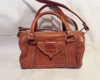 Vintage Brown Camel Leather Triangular Handbag / Shoulder Bag /- Small Size - NEW