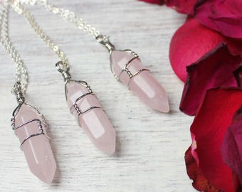 Rose Quartz Pendant, Bohemian Necklace, Boho Jewelry, Rose Quartz Point Necklace, Rose Quartz Necklace, Rose Quartz Jewelry