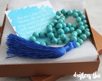 Tassel necklace- long tassel necklace- bohemian necklace- beaded necklace- turquoise necklace- ocean necklace- turquoise