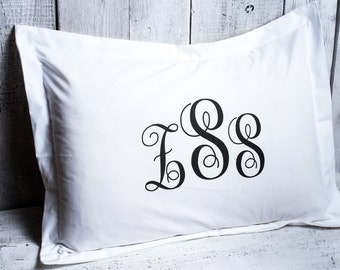 Monogram pillow case. Personalized pillowcase white 100% natural cotton. White bed pillow.