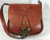 Tooled and Stitched Leather Purse in Brown Saddle Bag or Shoulder Bag with Brass Laurie Buckle from 1970
