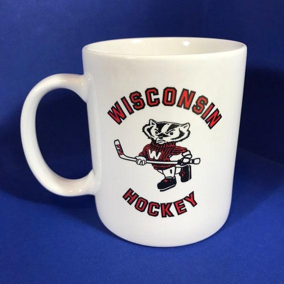 Vintage Wisconsin Badgers Hockey Coffee Mug Mascot Bucky Etsy