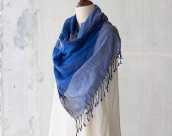 Oversized scarf / Cotton summer scarf / Gift for her / Large cotton scarf in Indigo blue / Handwoven light soft cotton scarves / Scarves