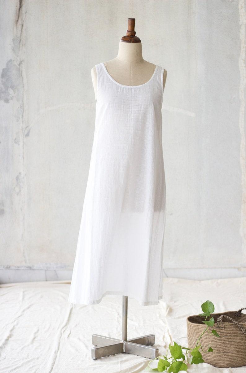 12740ae66c0 White maxi dress    Slip dress    Cotton dress    Sleeveless