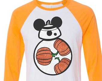 BB8 Pumpkin Shirt - BB8 Star Wars Glitter Shirt