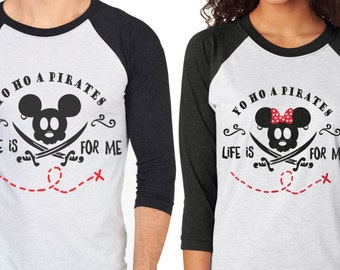 Yo Ho A Pirate's Life Is For Me - Pirate Mickey and Minnie Shirts