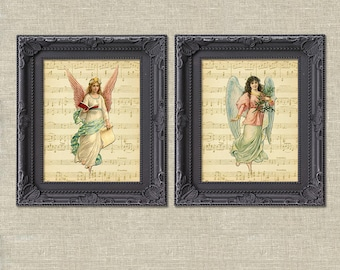 Angel music Christmas collage vintage printable wall art décor set of 2