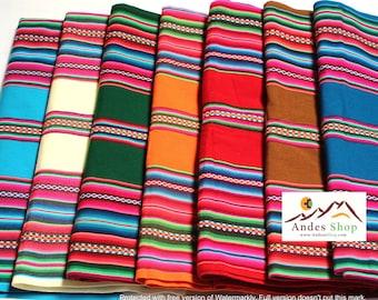 SALE 10% OFF* Large Size Premium Genuine Aguayo Bolivian Peruvian fabric 98''x49'' (250x125 cm.) Tribal Ethnic Stripy woven textile, blanket