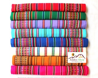 SALE 10% OFF* Genuine Aguayo Bolivian Peruvian fabric 46''x46'' (117x117 cm.) Tribal Ethnic Stripy woven textile, blanket. any use