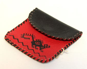 SALE 10% OFF* Genuine Llama Leather Coin Purse Pouch Hand Painted (Bolivian Peruvian leather) Wallet
