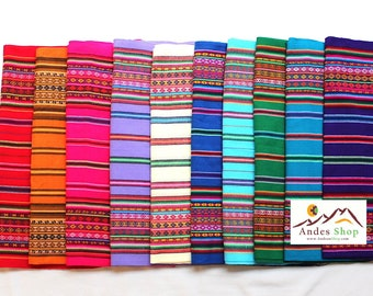 SALE 10% OFF* Large Size Genuine Aguayo Bolivian Peruvian fabric 92''x46'' (234x117 cm.) Tribal Ethnic Stripy woven textile, blanket