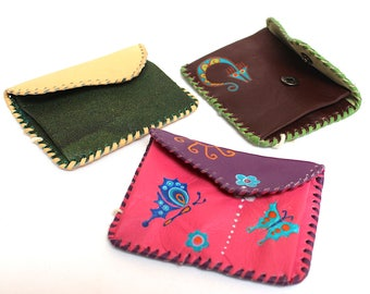 SALE 10% OFF* Genuine Llama Leather Coin Purse Pouch Hand Painted (Bolivian Peruvian leather) Womens Wallet
