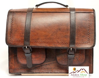 SALE 10% OFF* Genuine Leather Briefcase Backpack, Leather Bag, Leather Satchel, Leather Backpack, Vintage briefcase, brown