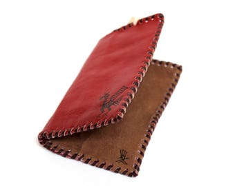 SALE 10% OFF* Genuine Llama Leather Card Holder Wallet Hand Painted (Bolivian Peruvian leather)