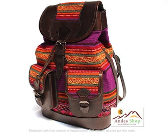 SALE 10% OFF* Ethnic Andean Handmade Brown Genuine Leather Aguayo (Bolivian Peruvian fabric) Backpack Bag