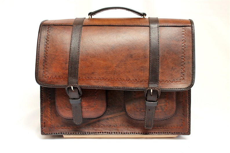 SALE 20% OFF Genuine Leather Briefcase Backpack Leather Bag image 0